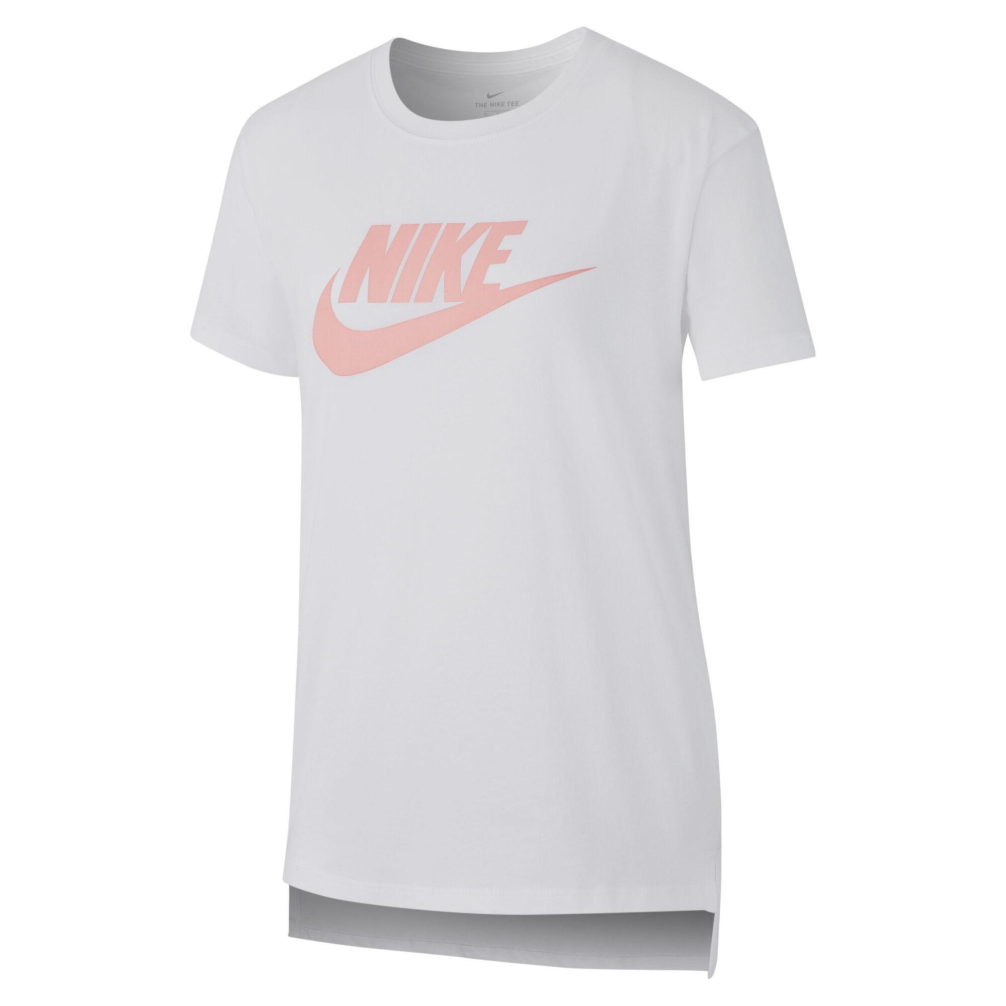 nike sportswear t-shirt mädchen - weiß, rosa online kaufen