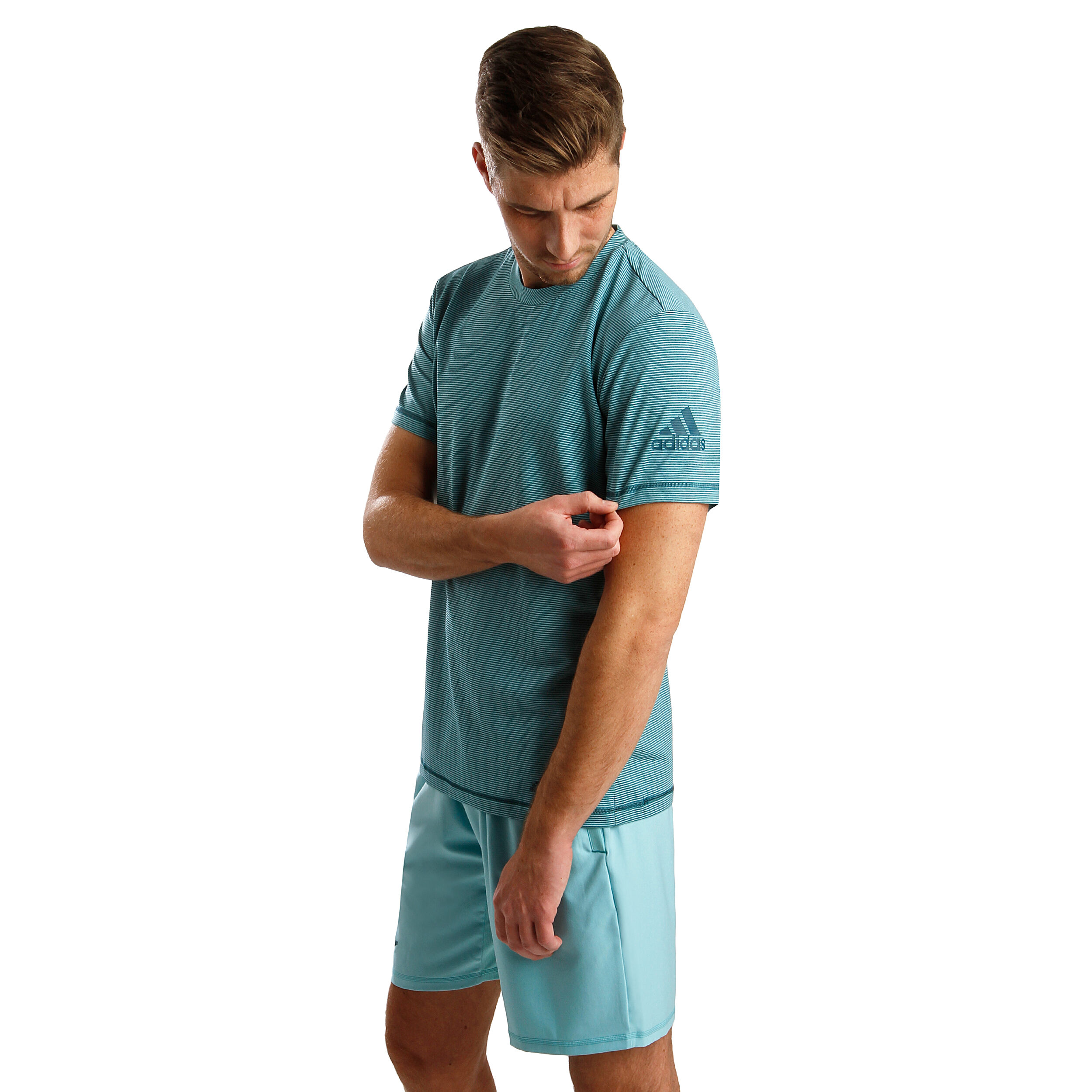 adidas Parley Striped T Shirt Herren Mint, Petrol